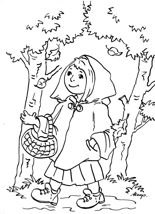 Czerwony Kapturek w jesiennym lesie